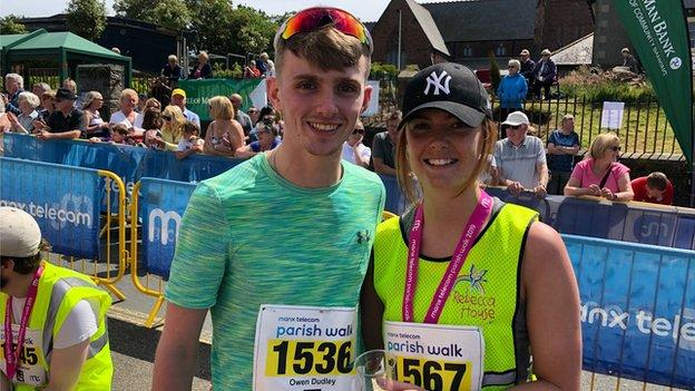 Under-21 winners Owen Dudley and Danielle Barton after finishing the race