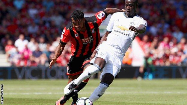 Eric Bailly in action for Manchester United against Bournemouth