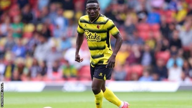 Peter Etebo on the pitch for Watford