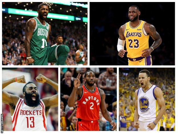 Kyrie Irving, LeBron James, James Harden, Kawhi Leonard and Steph Curry