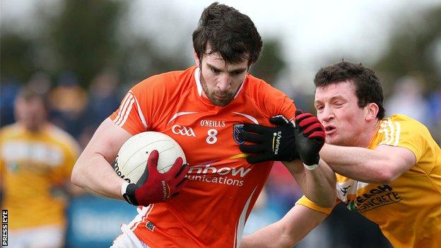 Aaron Findon replaces Brendan Donaghy in the Armagh midfield