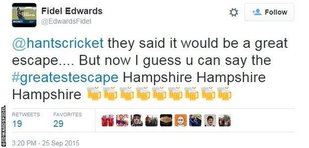 Fidel Edwards tweet