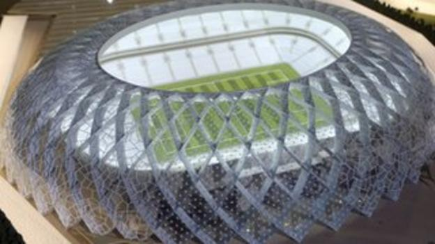 A model of the Al-Wakra football stadium in Qatar