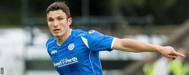 John Sutton in action for St Johnstone in the Europa League