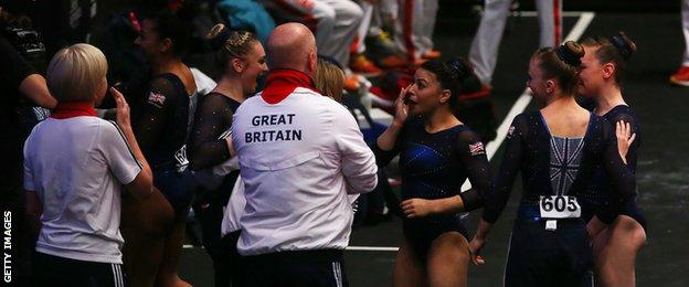 Tears from the GB women as their vault scores earn a bronze medal