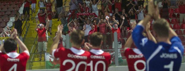 Newtown players celebrate in Valletta