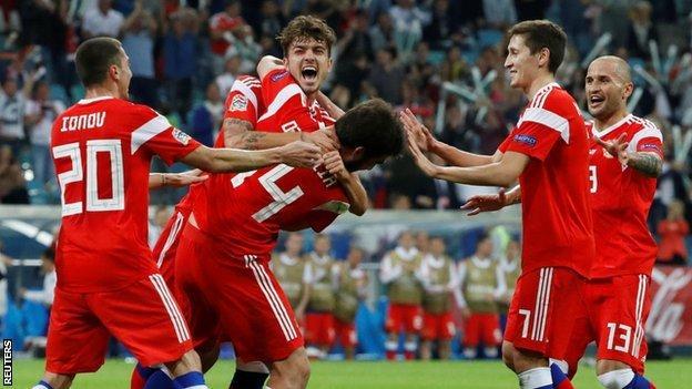 Russia celebrate a goal