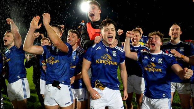 Cavan's players celebrates after their shock triumph over Donegal