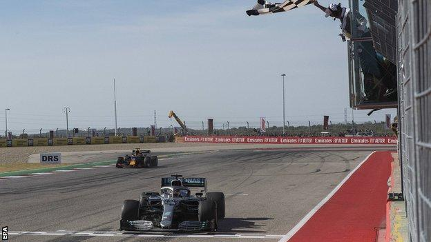Lewis Hamilton finishes second at the United States Grand Prix to clinch a sixth world championship