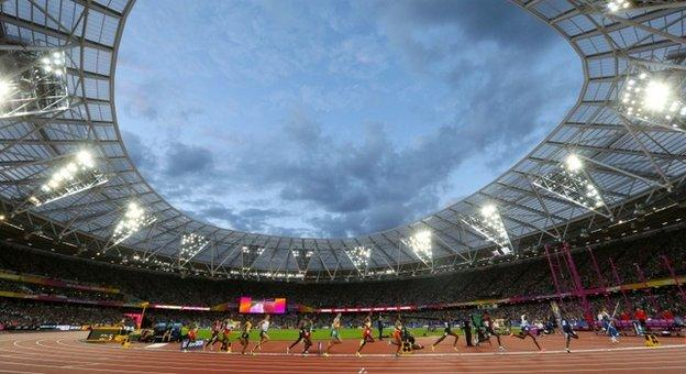 Athletes in the London Stadium