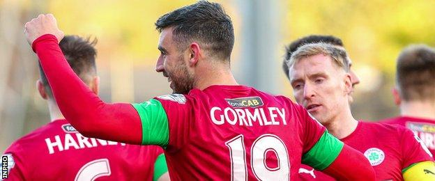 Joe Gormley's hat-trick took him on to 201 career goals for Cliftonville