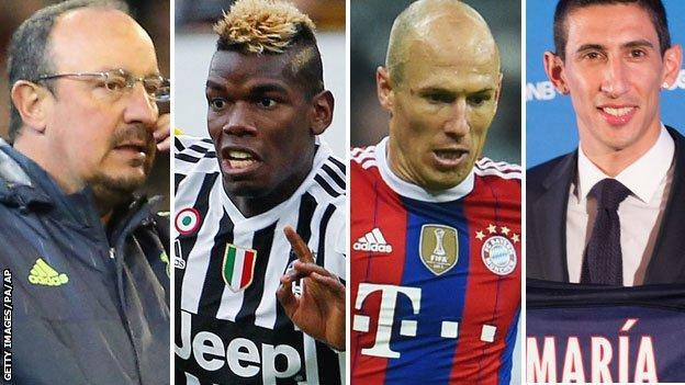Rafa benitez, Paul Pogba, Arjen Robben and Angel di Maria