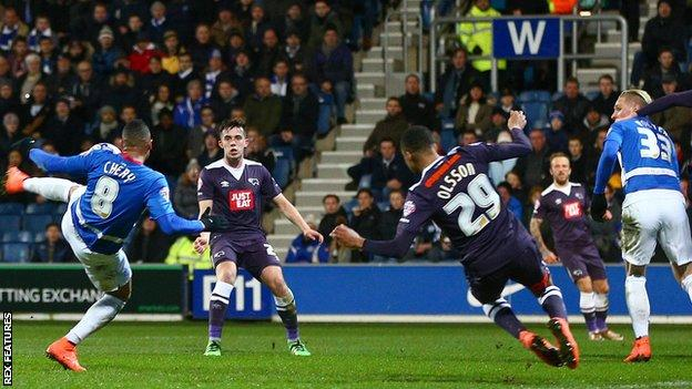 Tjaronn Chery scores with a first-half volley against Derby at Loftus Road