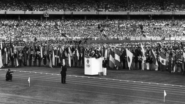 Opening of the 1956 Olympics in Melbourne