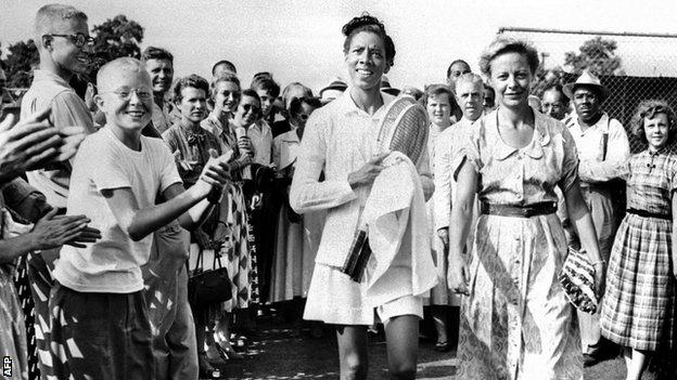 Althea Gibson at the 1950 US National Championships