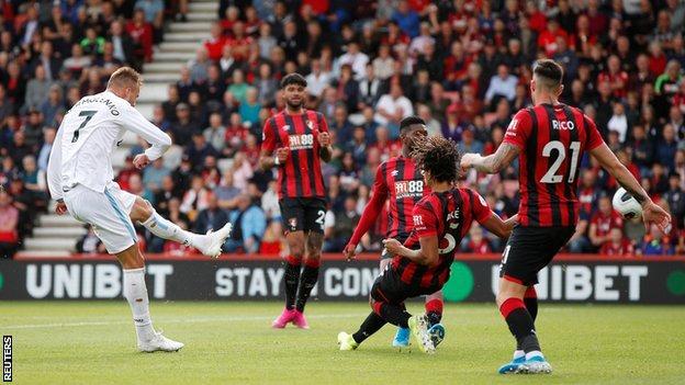 Andriy Yarmolenko scores against Bournemouth