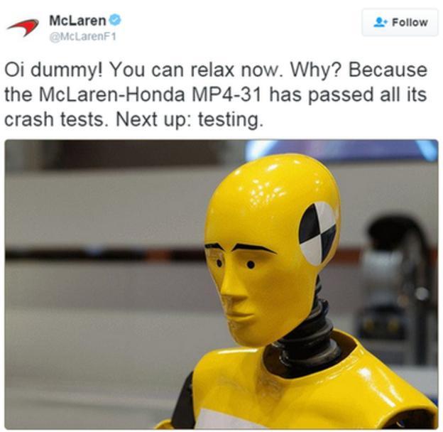 McLaren test dummy