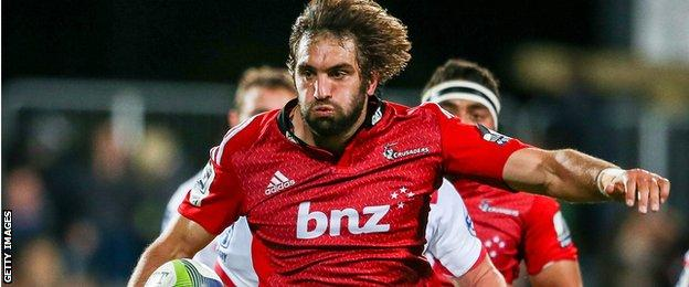 Sam Whitelock carries for the Crusaders