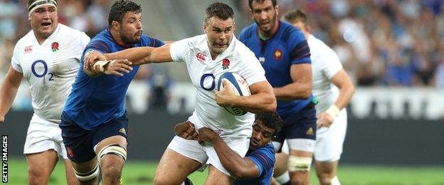 Nick Easter carries the ball against France