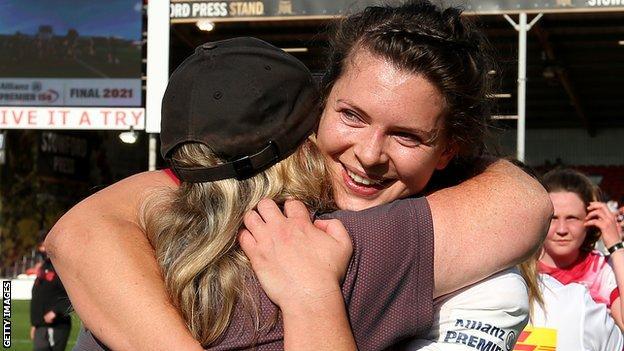 Abbie Ward celebrates Harlequins' Premier 15s final win against Saracens
