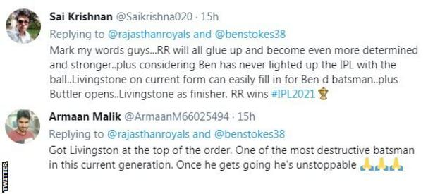 Fans on twitter say Liam Livingstone should now start for Rajasthan Royals
