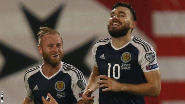 Scotland's Barry Bannan and Robert Snodgrass celebrate