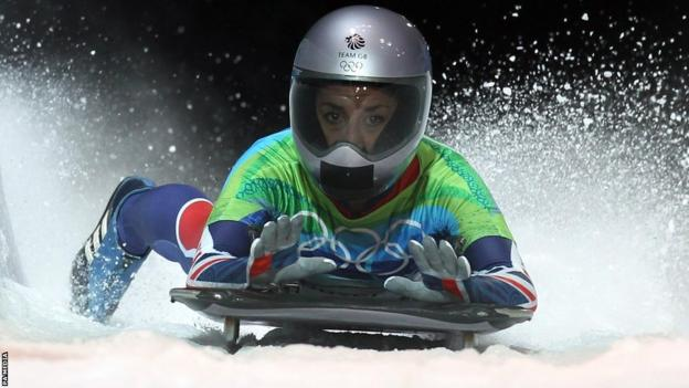 Skeleton bob competitor Shelley Rudman at the 2010 Vancouver Winter Olympics