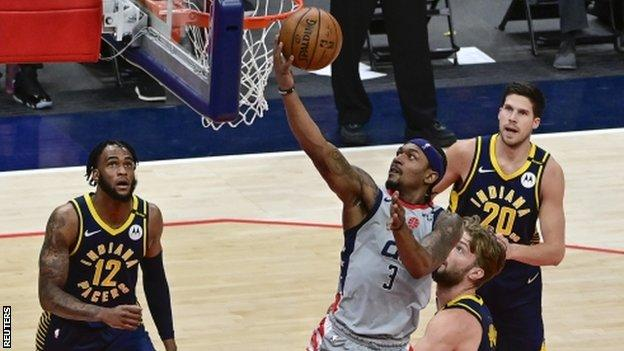 Bradley Beal scores in Washington's play-in win over Indiana