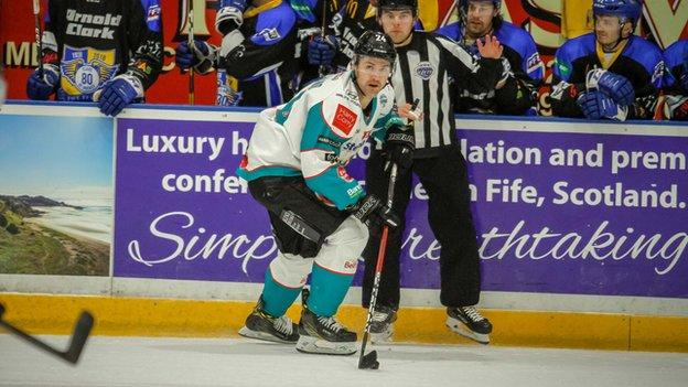 Giants forward Jonathan Ferland goes on the attack at the Fife Ice Arena