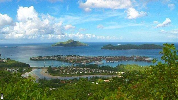Landscape shot of a harbour in the Seychelles