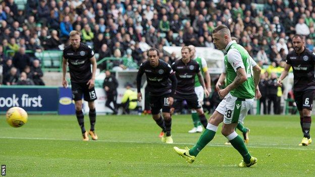 Anthony Stokes scores form the spot