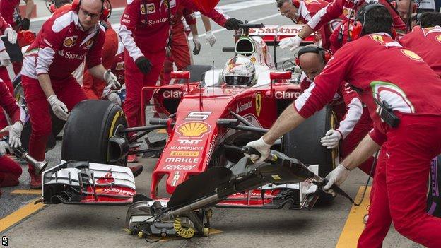 Sebastian Vettel pits during the Canadian Grand Prix