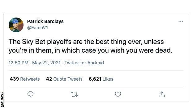 Tweet about EFL play-offs.