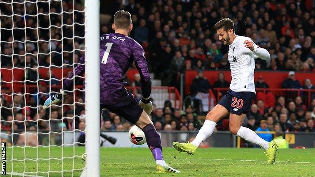 Adam Lallana's only goal for Liverpool this season came when he equalised at Manchester United