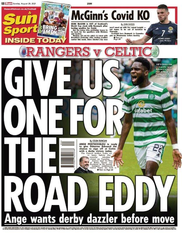 The back page of the Scottish Sun on 290821