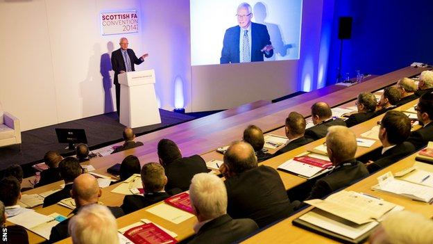 Barry Hearn addressed chairmen, chief executives and managing directors at Hampden in 2014