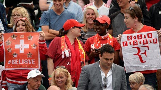 Roger Federer fans at Wimbledon