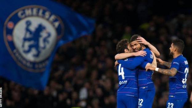 Ruben Loftus-Cheek celebrates after scoring for Chelsea against Bate Borisov in the Europa League