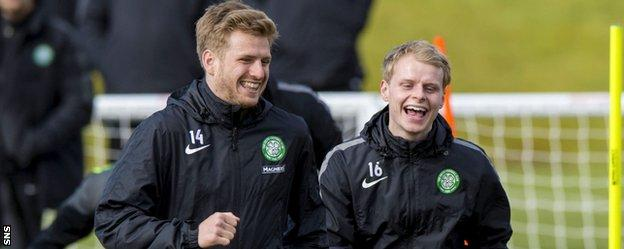 Stuart Armstrong and Gary Mackay-Steven enjoy Celtic training