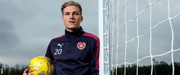 Hearts striker Gavin Reilly