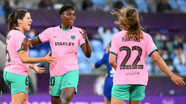 Nigeria's Asisat Oshoala (centre) celebrates scoring a goal in the European Women's Champions League for Barcelona which was later disallowed