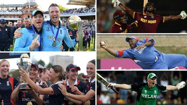 Eoin Morgan, Jos Buttler, Charlotte Edwards, Carlos Brathwaite, Dwayne Leverock and Kevin O'Brien in World Cup action