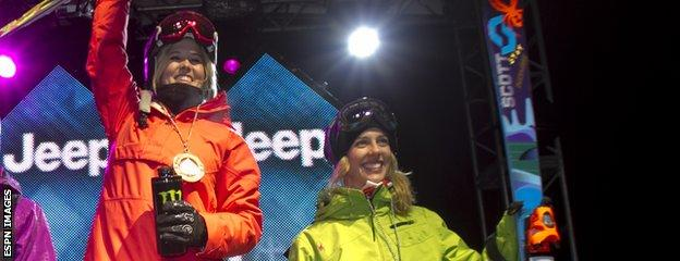 Sarah Burke and Roz Groenewoud celebrate on the podium together at the 2011 X Games