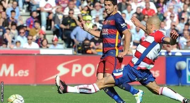 Luis Suarez scoring his third goal