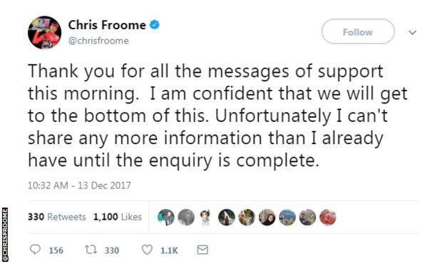 Chris Froome tweet