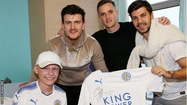 Leicester defender Harry Maguire posted on Instagram: Lovely afternoon spent at the Leicester Royal Infirmary. Great time of the year giving presents out and putting a smile on peoples faces. Merry Christmas to the staff and children.