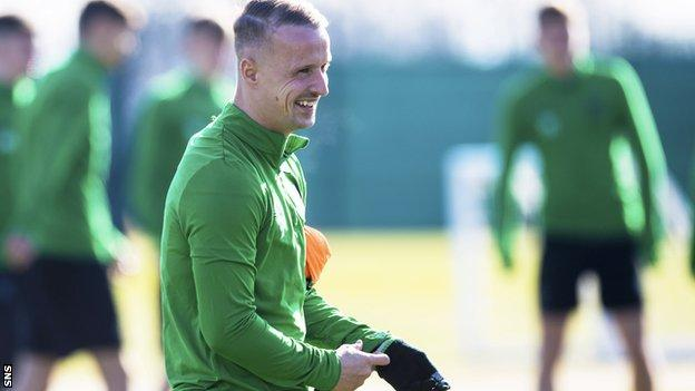 Leigh Griffiths smiles as he trains with Celtic on Thursday