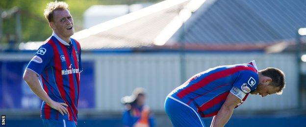 Inverness Caledonian Thistle players show their disappointment against St Johnstone