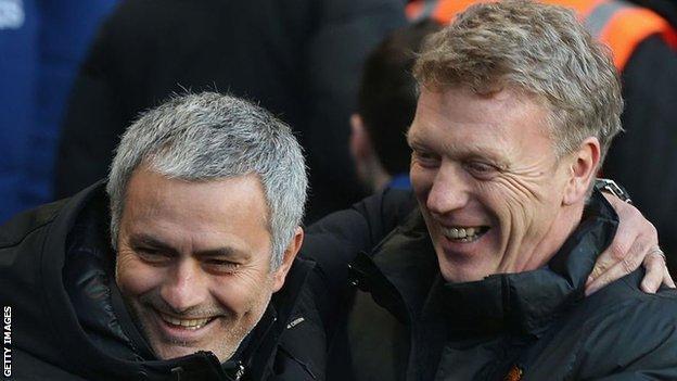 Jose Mourinho and David Moyes smiling