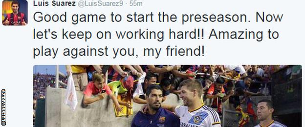 Luis Suarez tweet on playing Steven Gerrard